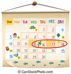 A calendar - Illustration of a calendar on a white...