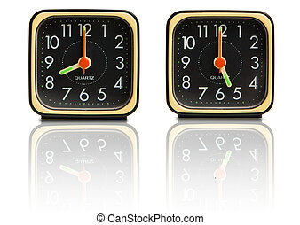 Small clocks showing 8 to 5 - Set of small clocks showing...