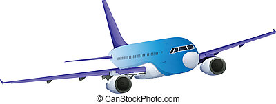 A blue plane - Illustration of a blue plane on a white...