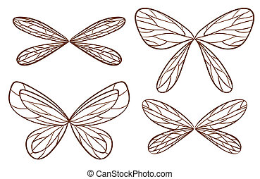 Simple sketches of fairy wings - Illustration of the simple...