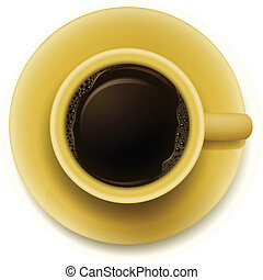 A yellow cup with coffee - Illustration of a yellow cup with...