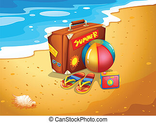 A summer escapade at the beach - Illustration of a summer...