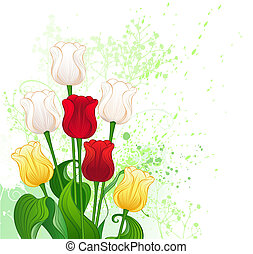 bouquet of stylized tulips - artistically painted a bouquet...