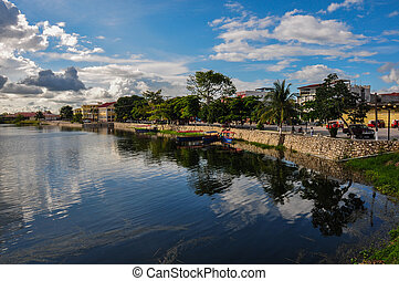 Reflection in Flores, Guatemala - Reflection in Flores, in...