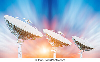 satellite dish antennas under sky