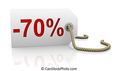 Seventy percent discount - White tag with seventy percent...