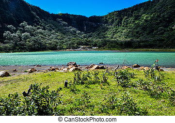 Old Volcano's Crater now Turquoise Lake, Alegria, El...