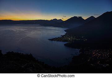 Sunrise from Narriz del Indio over Lago Atitlan, Guatemala.