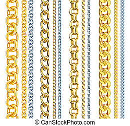 Set of realistic vector gold and silver chains - Vector...