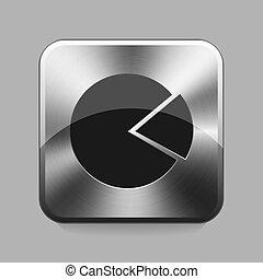 Chrome button - Graph chrome or metal button or icon vector...