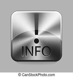 Chrome button - Info chrome or metal button or icon vector...