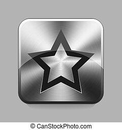 Chrome button - Star or favorite cart chrome or metal button...