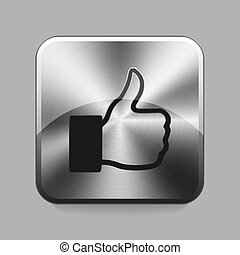 Chrome button - Like chrome or metal button or icon vector...