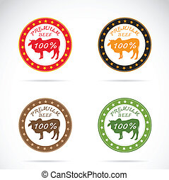 Set of vector cow label on white background