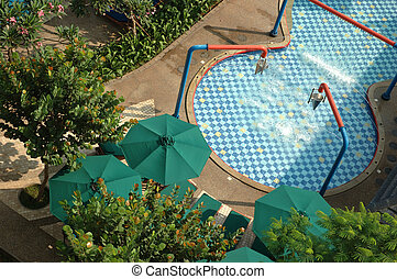 swimming pool surrounded by trees and plants in the summer