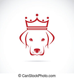 Vector image of a dog head wearing a crown on white...