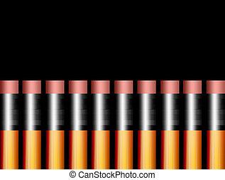 Pen - Group of pencils over black background. Illustration