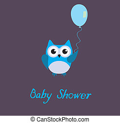 Baby Owl - vector baby owl with balloon