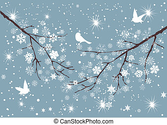 Snow Tree - vector snow branch with birds
