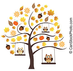 Fall Tree - vector tree with fall elements and owls swinging