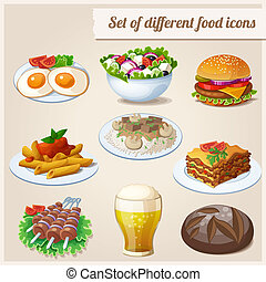 Set of different food icons. - Loaf of bread, fried eggs,...