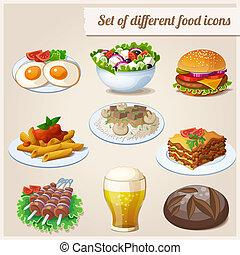 set, differente, cibo, Icone