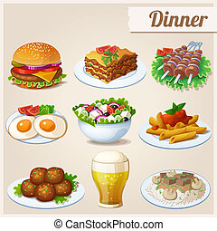Set of food icons. Dinner. - Fried eggs, glass of beer,...