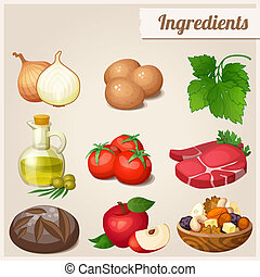 Set of food icons. Ingredients. - Loaf of bread, raw eggs,...