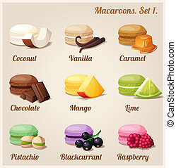 Macaroons. Set 1. - Colorful cookies with different flavors...