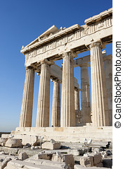 Columns of Parthenon temple in Athenian Acropolis - The...