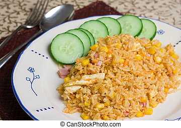 Indonesian fried rice - Close up of a plate of delicious...