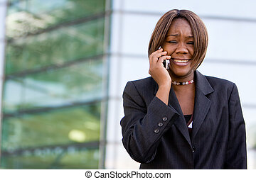 African american business woman with phone - African...