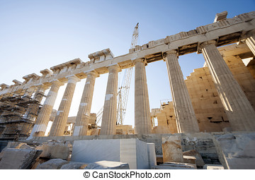 Reconstruction work on Parthenon temple in Athens -...