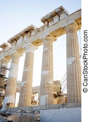 Reconstruction of Parthenon - Reconstruction work on the...