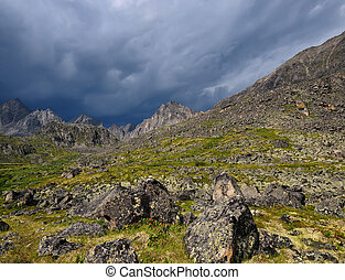 Mountain landscape in inclement weather - Summer mountain...