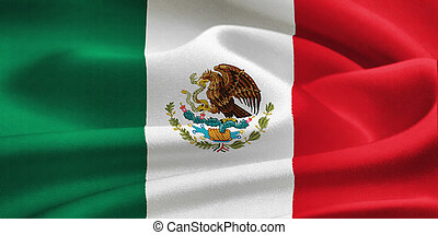 flag of Mexico waving in the wind. Silk texture pattern