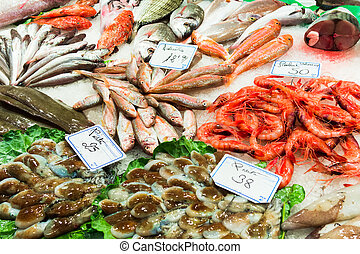 Fish stall in the Boqueria market, Barcelona