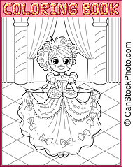 Coloring book. Fairy tail - Little princess at the dance in...