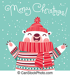 Christmas card with cute polar bear. Vector illustration.
