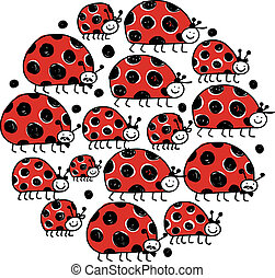 Ladybird family, frame for your design Vector illustration
