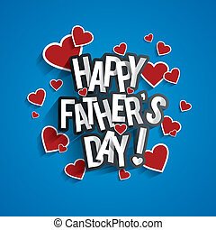 Happy Father's Day Greeting Card With Hearts On Blue...