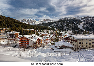 Ski Resort of Madonna di Campiglio, View from the Slope,...