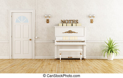 Home entrance with piano