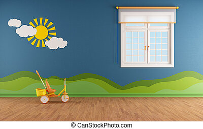 Blue kids room with window and decoration on wall -...