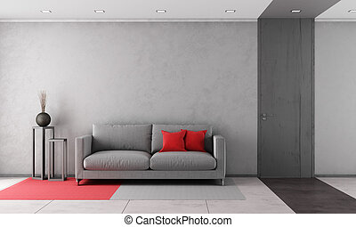 Contemporary living room with gray sofa and closed door -...