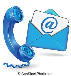 Vector blue contact icon - Vector illustration of contact...