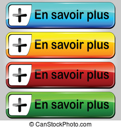 Vector read more buttons - French translation for read more...