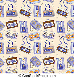 Audio cassette. Seamless pattern. - Seamless pattern of...