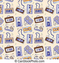 Audio cassette. Seamless pattern. - Seamless pattern of...