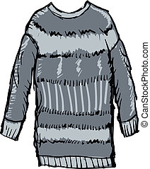 pullover - hand drawn, sketch illustration of female winter...